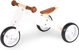 Pinolino 迷你三轮车 Charlie 木制 4 层可更换 6 倍高度可调 适用于 1.5 岁以上的儿童,白色/自然