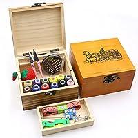HaloVa 木质缝纫箱,木质包装盒缝纫套件,配有剪刀、薄荷、针、针、卷尺、储物盒和配件,非常适合儿童、旅行、紧急 Carriage HaloVa