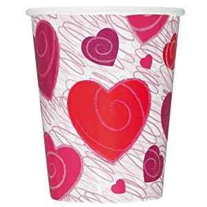 Unique Hearts-A-Whirl Paper Cups, 9-Ounce, 8-Count