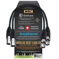 2 件 - 1 英尺 - Gotham GAC-4/1(黑色) - 星形四头形,双屏蔽平衡公对母麦克风电缆带安酚 AX3M 和 AX3F 银色 XLR 连接器 - 由 WORLDS BEST 电缆定制