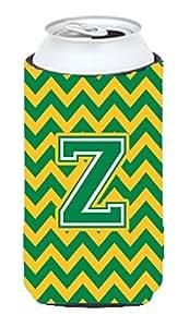 Caroline's Treasures CJ1059-ZTBC Letter Z Chevron Green and Gold Tall Boy Koozie Hugger, Multicolor
