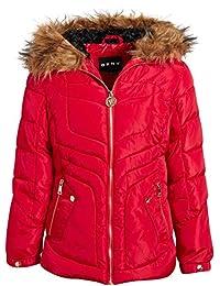 DKNY 女童中等重量泡滑雪夾克,羊羔絨襯里和人造毛皮裝飾帽