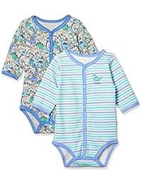 [马赛威斯] 恐龙图案 前开长袖紧身衣 2件装 婴儿男孩 2409B