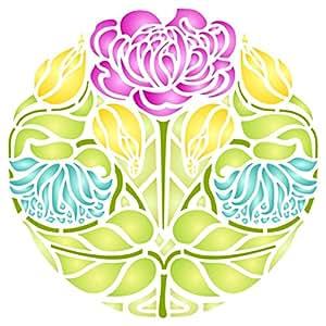 玫瑰花模板 - 可重复使用的艺术新艺术花卉墙壁模板印花 - 用于纸质项目剪贴簿子 子弹 日记本 墙 地板织物 家具玻璃 木等。 L