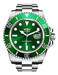 可旋转表圈自动机械手表男式品牌防水全钢银色夜光表盘手表