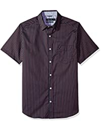 Nautica 男式防皱短袖印花图案纽扣衬衫