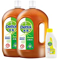 Dettol 滴露 消毒液 1.8L*2+衣物除菌液清新柠檬180ml 与洗衣液,柔顺剂配合使用(亚马逊自营商品, 由供应商配送)