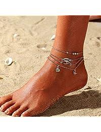 Nicute 沙滩贝壳脚链 银色多层海星脚踝手链 波西米亚夏季*首饰 适合女士和女孩(4 件)