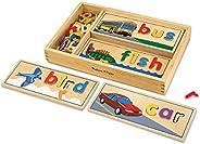 Melissa & Doug 观察与拼写木制玩具,有益于大脑,带有8个双面拼写板和6