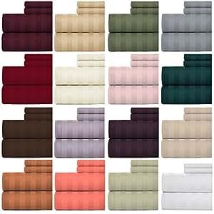 Weavely 床床单 * 棉 600 支锦缎条纹床单套装,4 件套*店品质床单,38.1 cm 弹性深口袋床笠 白色 King B01IFOP6UG
