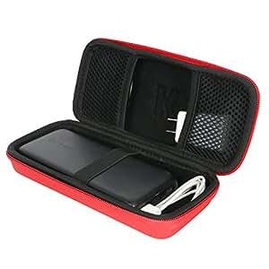 Khanka RAVPower 便携式充电器硬质保护套 RAVPower 22000mAh 适用于便携式手机充电器 22000 移动电源 5.8A 输出 3 端口电池组316 红色