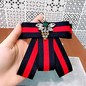 黑色缎面蕾丝丝带蝴蝶结胸针衬衫领结抽绳领结 红色 13.6 * 20.6cm J14