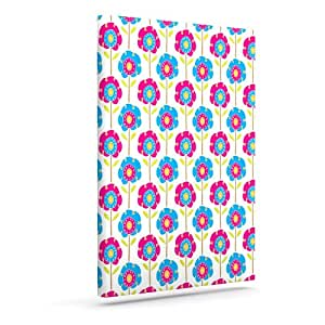 "Kess InHouse Apple Kaur Designs ""Lolly Flowers""蓝色粉色户外帆布墙壁艺术 24"" x 30"" 蓝色 SA1006AAC05"