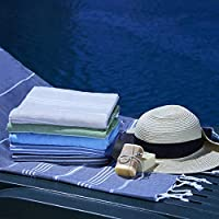 "Aslan Homestore 土耳其沙滩毛巾 * 棉 土耳其浴巾 96.52 厘米 x 175.26 厘米大毛巾 蓝色 38""x69"""