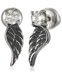 [cenote ] cenote 【银饰品】 羽毛耳环 白氧化锆 左右一套 15086100