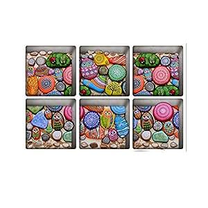 H4S 即剥即贴防滑乙烯基浴缸贴纸浴缸贴花浴缸贴花,每包 6 张 印花卵石图案 H4STUB012