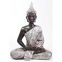 我们支付您的销售税 Feng Shui 27.94 厘米银色和黑色泰国冥想佛像家居装饰雕像 (KT00138)