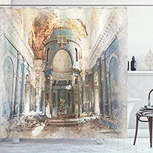 古装饰淋浴帘由 ambesonne ,旧 Ancient abandoned renaissance ERA 建筑教堂与列艺术,装饰浴帘自带挂钩,白色和蓝色