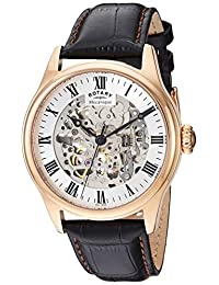 Rotary 'Greenwich'自动金色和皮革休闲手表,黑色(型号:GS02942/01)