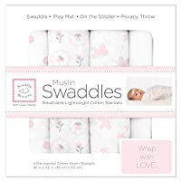 SwaddleDesigns Muslin Swaddle Blanket, Butterflies and Posies, 4 Count
