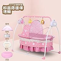 牧川(MUCHUAN) 电动婴儿床摇床电动智能自动宝宝婴儿摇篮床新生儿带蚊帐摇摇床 (粉色豪华版)