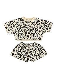 幼童女童豹纹运动衫休闲长袖衬衫套头衫上衣毛衣衣服