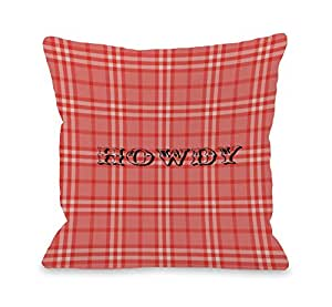 OBC 的 Bentin Home Decor Ain't My First Rodeo Cow 抱枕 Howdy Rope Plaid - Red 20x20 Pillow 11992PL20