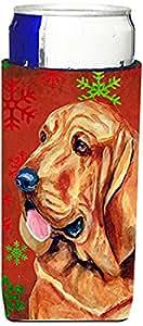 Caroline's Treasures LH9331-Parent Bloodhound 红色和绿色雪花节日圣诞*饮料隔热器适用于苗条罐 LH9331MUK,多色 多种颜色 Slim LH9331MUK