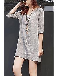 连衣裙棉麻衬衫裙女中长款夏装宽松休闲亚麻大码二件套装裙LK-JXM001