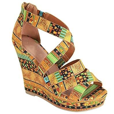 女式坡跟防水台凉鞋罗马十字交叉脚踝绑带高跟夏季鞋子 gd13 Camel Multi 5.5 B(M) US