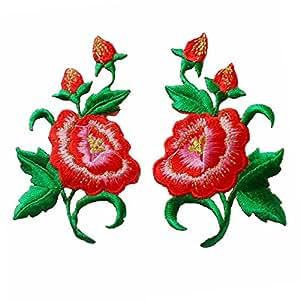 FJTANG 一对服装刺绣花朵贴片 熨烫补丁贴贴纸 服装贴花 DIY 配件(9.60 厘米) 红色 FQT001276C