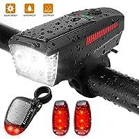 ANZOME 可充电太阳能前后自行车灯套装 & 2 件装 LED *灯,警告后尾灯 LED 扬声器,反光自行车的*佳高可见度配件