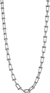 W WOOGGE 竹制回形链项链 男女适用 18 英寸 6 毫米椭圆形链环