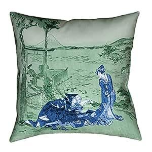 "ArtVerse Katsushika Hokusai 日本 Courtesan 蓝色和绿色 x 35.56 cm Pillow-Spun 涤纶双面印花仅带隐藏拉链盖 26"" x 26"" HOK045P2626C"