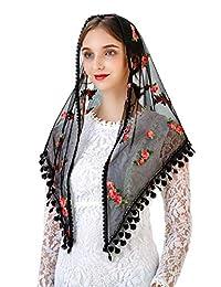 Pamor 三角小花朵教堂面纱刺绣围巾披肩拉丁质量头巾教堂面纱