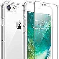 FlexGear iPhone 7 8 手機殼,FlexGear 360 超薄透明硬質 PC 背面 TPU 緩沖墊 + 玻璃屏幕保護膜 透明