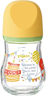 Pigeon 贝亲 自然实感 宽口径臻宝玻璃奶瓶 耐热玻璃制 支持母乳喂养 0个月 160ml 聚会