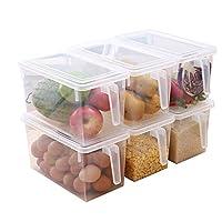 成琳 日式冰箱收纳盒 厨房储物盒 带手柄保鲜盒 水果收纳箱 自由组合 可叠加带盖水果收纳盒 六个装(无内格6个)