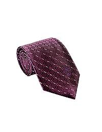 Versace Men's Geometrical Patterned Square Plaid Silk Necktie Violet