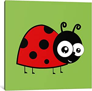 """iCanvasART 1 Piece Lady Bug Green Canvas Print by Icanvas, 37 by 37""""/1.5"""" Deep"""