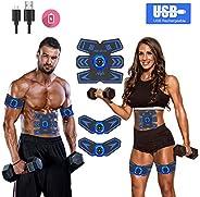 Abs Stimulator 腹部刺激器肌肉塑身器可充电肌肉训练器终极腹部刺激器适用于男士女士腹部锻炼广告力量健身腹肌训练装备,ABS 锻炼设备便携