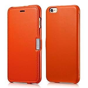 xy004iphone 6手机壳, benuo [ 奢华系列 ] [ 真皮 ] 对开式翻转 corrected 粒面皮革保护套带磁性适用于 iPhone 611.9cm 橙色