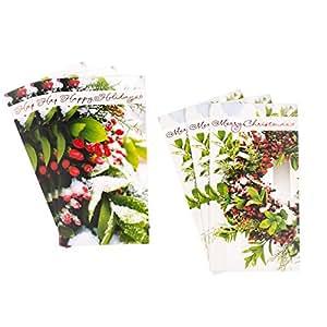 Hallmark 圣诞礼品卡或钱夹组合(10 张卡/ 2 种设计,10 个信封树和展示) Christmas Holly, Pack of 6