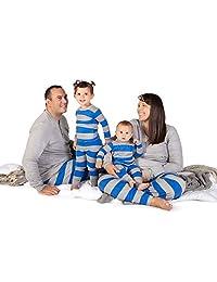 Family Jammies, Blue Rugby Stripe, Holiday Matching Pajamas, 100% Organic Cotton