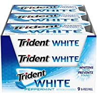 Trident White 薄荷无糖口香糖, 16块, 9件装
