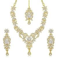Sukkhi Golden Gold Plated Australian Diamond Stone Choker Necklace With Drop Earrring & Mangtikka Set For Women