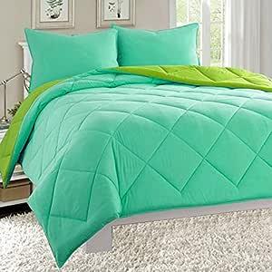 Elegant Comfort 四季轻盈羽绒替代品双面被子 3 件套 - 有各种尺寸和多色可选 水绿色/石灰 King 189RW-Comforter-K-Aqua/Lime