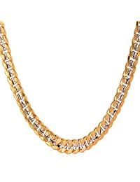 U7男式中性款双色珠宝6mm-9mm WIDE 白金 & 18K 镀金古巴项链45.72cm 27.94cm 20.32cm 20.32cm 20.32cm 15.24cm 30.48cm   金色