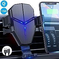 无线车载充电器支架,Quntis 15W 10W 7.5W Qi 快速充电车载支架自动夹式通风口手机支架重力支架兼容 iPhone 11/11 pro max/XS/XR/8 Galaxy S10/S9/S8/Note 10/10