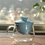 京韵堂家用茶杯过滤泡茶杯陶瓷茶具套装 透明水杯 耐热玻璃带盖花茶茶杯子 养心杯-新绿